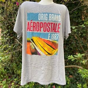 3/$15 Aeropostale Gray Surf Board Graphic Tee XXL